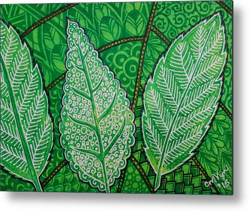 Abstract Metal Print featuring the painting Leaves Of Spring by Michelle Vyn