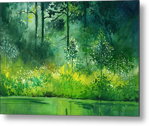 Water Metal Print featuring the painting Light N Greens by Anil Nene