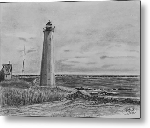 Landscape Metal Print featuring the drawing Lighthouse Point by Tony Clark