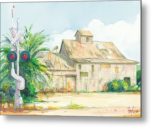 Historic Structure Near Train Crossing Metal Print featuring the painting Lima Bean Plant 2 by Ray Cole