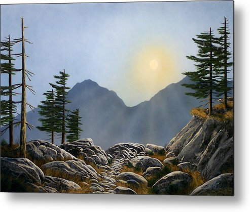 Landscape Metal Print featuring the painting Lookout Rock by Frank Wilson