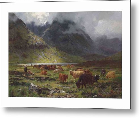 Nature Metal Print featuring the painting Louis Bosworth Hurt 1856-1929 Highland Cattle In A Glen by Louis Bosworth Hurt