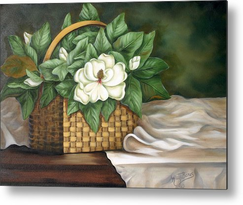 Flower Metal Print featuring the painting Magnolia Basket by Ruth Bares
