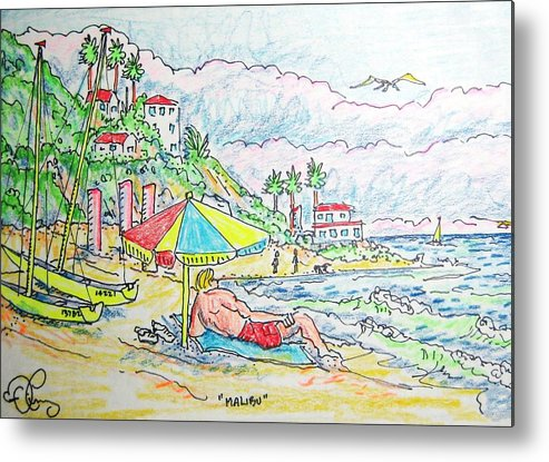 Beach Metal Print featuring the painting Malibu by Robert Findley