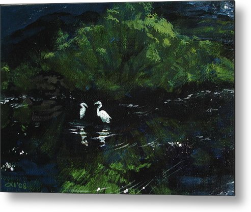 Herons Metal Print featuring the painting Midnight by Jill Iversen
