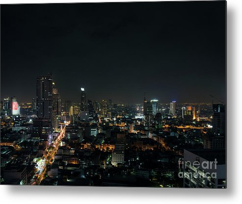 Architecture Metal Print featuring the photograph Modern Buildings In Silom Area Of Bangkok Thailand At Night by Jacek Malipan