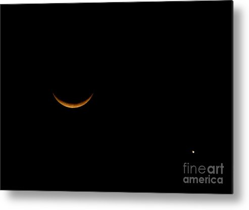 Moon Metal Print featuring the photograph Moon And Venus by PJ Cloud