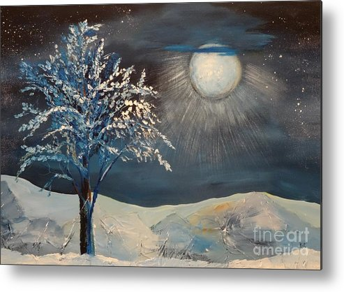 Tree Metal Print featuring the painting Moonlit Night by Kat McClure
