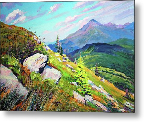 Mountains Metal Print featuring the painting Mount Hoverla by Bohdan Saliy