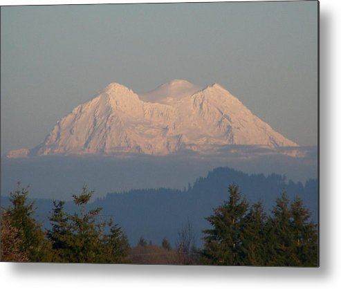 Digital Photography Metal Print featuring the photograph Mount Rainier February Ninth by Laurie Kidd