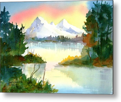 Watercolor Metal Print featuring the painting Mountain Sunset by Larry Hamilton