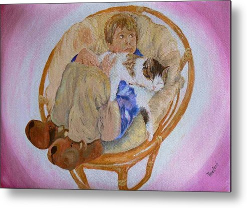 Portrait Metal Print featuring the painting my grandson Pascal with his cat Paul by Helmut Rottler