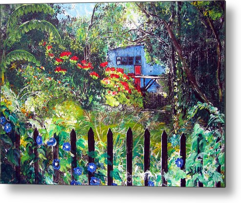 Landscape Metal Print featuring the painting My Neighbors Garden by Sarah Hornsby