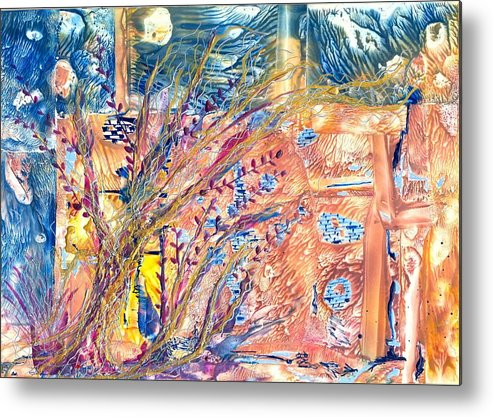 Abstract Encaustic Metal Print featuring the painting My Place by Heather Hennick