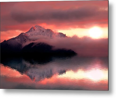 Landscape Metal Print featuring the photograph Mystic Sunset With Mountain Reflection And Lake by Ioan Panaite