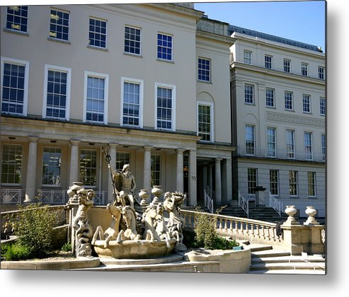 Neptune's Fountain Cheltenham Georgian House Promenade Metal Print featuring the painting Neptunes Fountain by Andy Lloyd