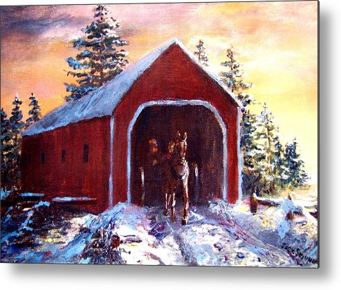Winter Scene Metal Print featuring the painting New England Winter Crossing by Jack Skinner