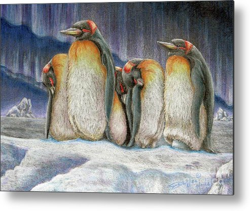 Fuqua - Artwork. Wildlife Metal Print featuring the drawing Northern Lights - Goodnight by Beverly Fuqua