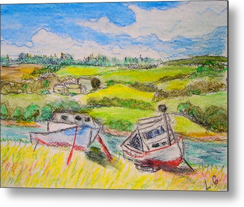 Fishing Boats Metal Print featuring the drawing Nova Scotia Fishing Boats by Lessandra Grimley