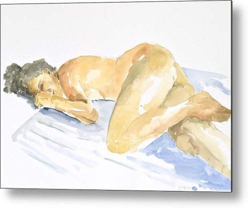 Sleeping Figure Metal Print featuring the painting Nude Serie by Eugenia Picado