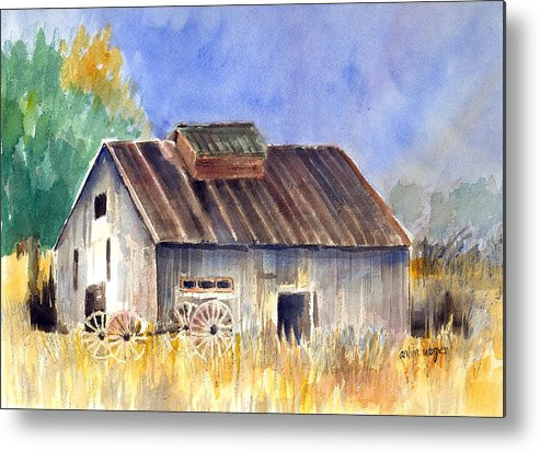 Barn Metal Print featuring the painting Old Barn by Arline Wagner