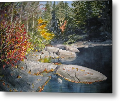 Landscape Metal Print featuring the painting On The Rocks by Shirley Braithwaite Hunt