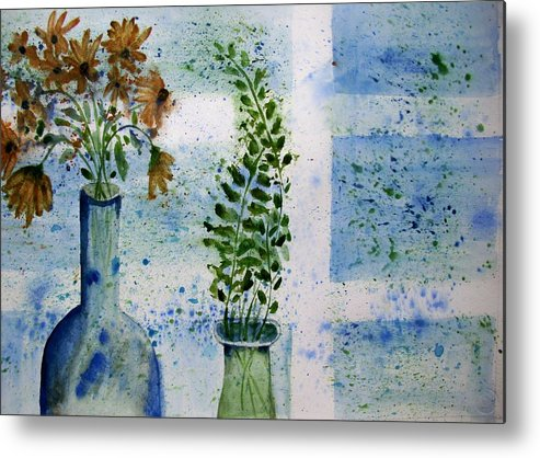 Flower Metal Print featuring the painting On The Windowledge by Audrey Bunchkowski