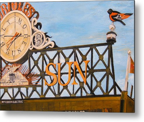 Orioles Metal Print featuring the painting Orioles Scoreboard At Sunset by John Schuller