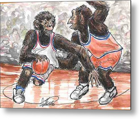 Basketball Metal Print featuring the painting Out Of My Way by George I Perez