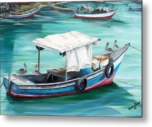 Fishing Boat Painting Seascape Ocean Painting Pelican Painting Boat Painting Caribbean Painting Pirogue Oil Fishing Boat Trinidad And Tobago Metal Print featuring the painting Pirogue Fishing Boat by Karin Dawn Kelshall- Best