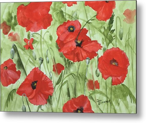 Red Metal Print featuring the painting Poppy Field 1 by Jean Blackmer