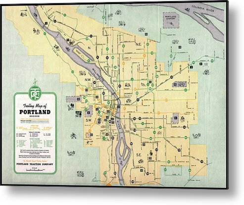 photograph about Printable Map of Oregon named Portland Oregon Trolley Map 1943 Steel Print