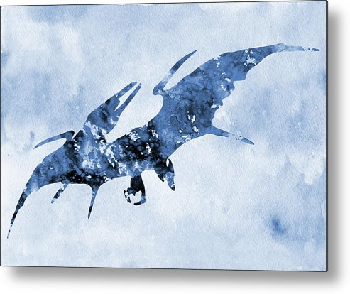 Pterodactyl Metal Print featuring the digital art Pterodactyl-blue by Erzebet S