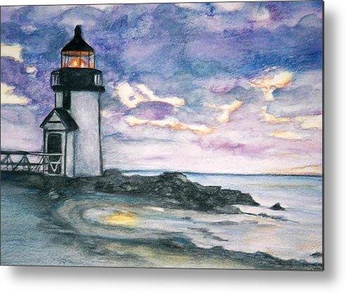 Nantucket Metal Print featuring the painting Purple Skies Over Nantucket by Debra Sandstrom