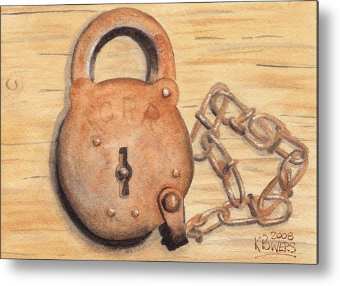 Lock Metal Print featuring the painting Railroad Lock by Ken Powers