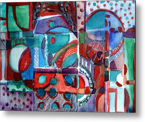 Abstract Metal Print featuring the painting Red And Green Jazz by Mindy Newman