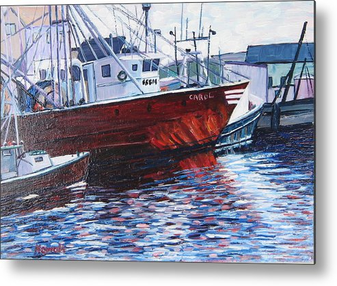 Boats Metal Print featuring the painting Red Boats by Richard Nowak