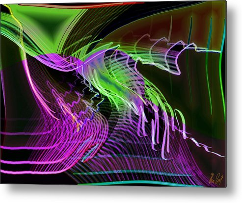 Drawing Metal Print featuring the digital art Reflexions Green by Helmut Rottler