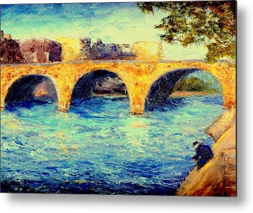 Impressionism Metal Print featuring the painting River Seine Bridge by Gail Kirtz