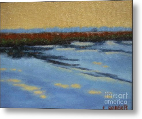Landscape Metal Print featuring the painting River's Edge by Laura Roberts