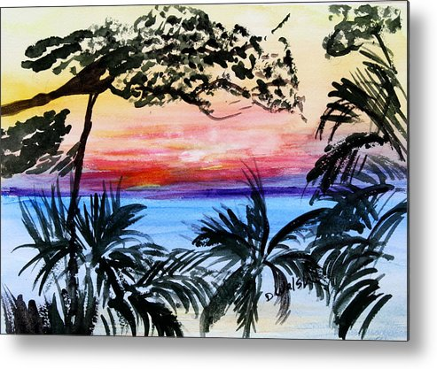 Tropical Metal Print featuring the painting Roatan Sunset by Donna Walsh
