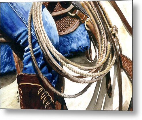 Rope Metal Print featuring the painting Rope by Nadi Spencer