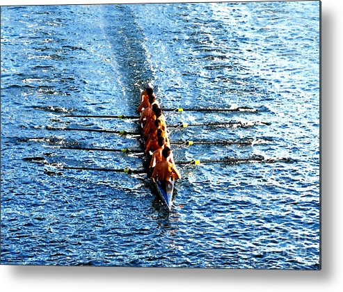 Rowing Metal Print featuring the photograph Rowing In by David Lee Thompson