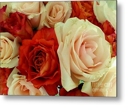 Roses Metal Print featuring the photograph Rustic Rose Bouquet by Margaret Newcomb