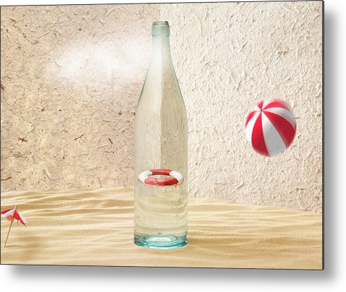 Rescue Buoy Metal Print featuring the photograph Safety Bottle by Han Van Vonno