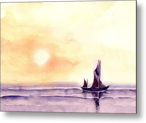 Nature Metal Print featuring the painting Sailing by Anil Nene