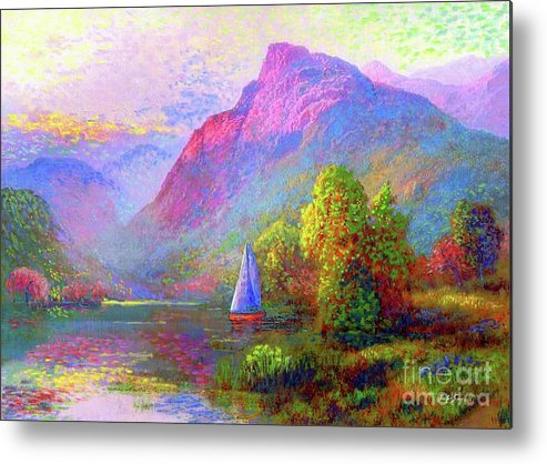 Spring Metal Print featuring the painting Sailing Into A Quiet Haven by Jane Small