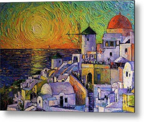 Sunset In Santorini Metal Print featuring the painting Santorini Sundown by Mona Edulesco
