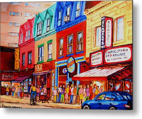 Cityscape Metal Print featuring the painting Schwartz Lineup With Simcha by Carole Spandau