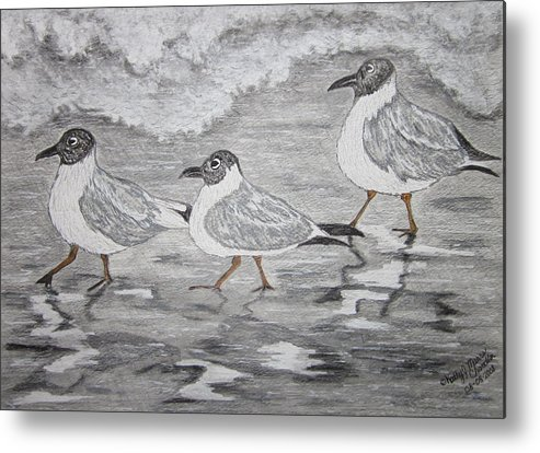 Sea Gulls Metal Print featuring the painting Sea Gulls Dodging The Ocean Waves by Kathy Marrs Chandler